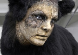 Kate Clark: Untitled (black bear).  Medium: bear hide, foam, clay, pins, thread, rubber eyes. 27 x 42 x 16 inches (life size), 2008