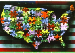 "Sungho Choi, Model for ""My America,"" 1993. Mixed media on wood."