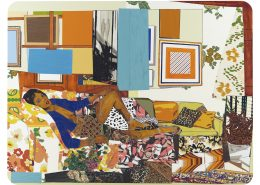 Mickalene Thomas, Tamika sur une chaise longue avec Monet, 2012, rhinestones, acrylic, oil, and enamel on wood panel, 108 x 144 in. Courtesy of the artist, Lehmann Maupin, New York and Hong Kong, and Artists Rights Society (ARS), New York.