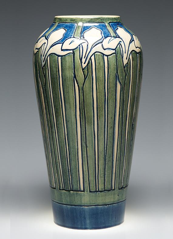 Roberta Kennon, artist, Louisiana iris vase, c. 1905