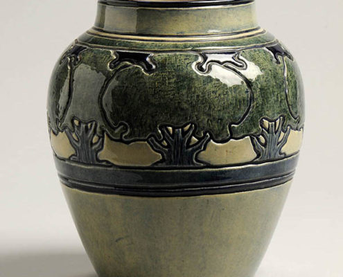 Leona Nicholson, artist, Live oak vase, c. 1904